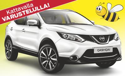 Huippuvarusteltu Nissan Qashqai 23.490 € tai 249 €/kk! Korko 0,99 %!