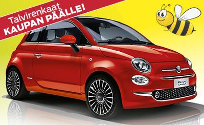 Uusi Fiat 500 POP – nyt talvirengaspaketti kaupan päälle! Nyt ilman käsirahaa 149€/kk!