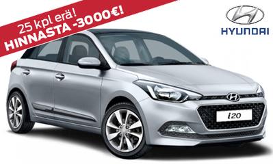 25 kpl erä! Uusi Hyundai i20 Comfort nyt -3000 € alennuksella! Rahoitus ilman käsirahaa vain 149,90 €/kk!
