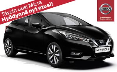 Uusi Nissan Micra romutuspalkkiolla ja kampanja-alennuksella vain 13.680 € tai 139 €/kk!