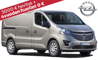 Nyt super hyvitys uuteen Vivaroon! Tarjoamme vähintään 5000 € autosta kuin autosta ja lisäksi 4 vuoden huollot kaupan päälle! Korko 0,99 %!