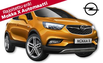 Opel Mokka X Automaatti – rajoitettu erä autoja erikoishintaan, nyt 23.998 €! Etusi lähes 2000 € ja osamaksukorko 2,9 %!