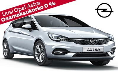 Uusi Opel Astra Automatic Edition nyt 23.990 € tai esim. 229 €/kk. Rahoituskorko kaikkiin Opeleihin 0 % ja 3 kk lyhennysvapaata!