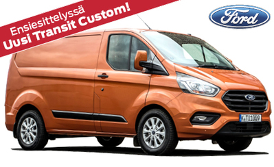 Esittelyssä uusi Ford Transit Custom! Malliston hinnat alk. 33.675 € tai esim. 399 €/kk. Tervetuloa tutustumaan!