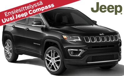 Uusi Jeep Compass! Mallisto alkaen 32.590 € tai ilman käsirahaa 369 €/kk! Korko 0,99 %!