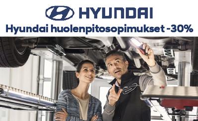 Hyundai-autosi huoltokustannuket saat hallintaan, kun teet huolenpitosopimuksen. Nyt kaikki huolenpitosopimukset -30 %!