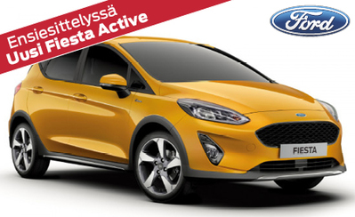 Esittelyssä täysin uusi Ford Fiesta Active! Malliston hinnat alk. 199 €/kk tai 20.658 €. Osamaksukorko 1 %!