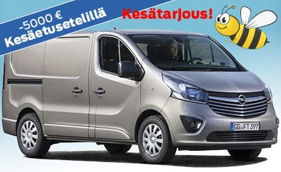 Kesäetusetelillä Opel Vivaron hinnasta pois nyt 5000 € ja 4 vuoden huollot kaupan päälle! Osamaksukorko 0,99 %!