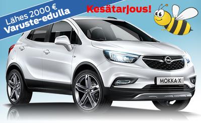 Kesämarkkinoilta Opel Mokka X -malliin 4 vuoden takuu ja lähes 2000 € varuste-etu! Korko 0,99 %! Kaskovakuutus 149 €!