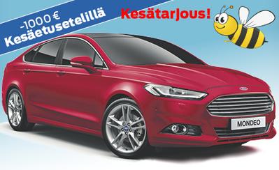 Kesämarkkinoilta Ford Mondeon ostajalle 1000 € etuseteli hintaan tai varusteisiin! Esim. Mondeo Trend 34.222 €! Korko 0,99 %!