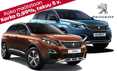 Peugeot 3008 ja 5008 SUV nyt huippuedulla! Kaikkiin Peugeot henkilöautoihin osamaksukorko 0,99 % ja takuu 5 vuotta!