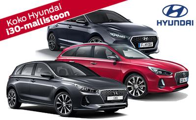 Koko Hyundai i30-mallistoon 7 vuoden takuu ja rahoituskorko 0,7%! Nyt korimallin korotukset vain 7 €! Toimi nopeasti!