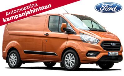 Nyt koko Ford-hyötyajoneuvomallistoon talvirenkaat 499 €, rahoituskorko 2,9 % ja takuu 5 vuotta! Uusi Transit Custom 34.055 € tai ilman käsirahaa 429 €/kk!