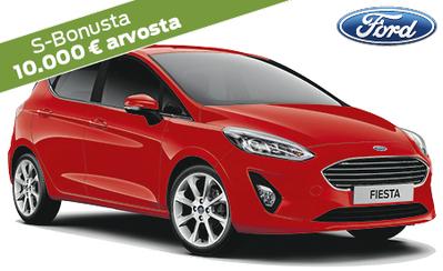 Ford-henkilöauton ostajalle 10.000 € arvosta S-Bonusta! Fiesta alk. 16.986 €! Korko 0,95%, 3kk lyhennysvapaata ja takuu 5 v.