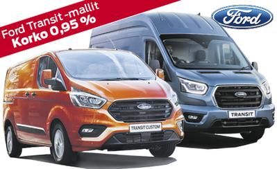 Koko Ford Transit -mallistoon rahoituskorko 0,95 %, 3 kk lyhennysvapaata ja jopa 72 kk maksuaikaa! Hinnat alk. 34.032 €.