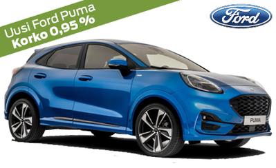 Esittelyssä uusi Ford Puma! Hinnat alk. 23.375 €. Korko 0,95 %! Koko Ford-henkilöautomallistoon kaupan päälle S-Bonusta!