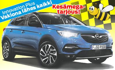 Opel Grandland X Innovation Plus 130hv Automaatti nyt 33.990 € tai 399 €/kk! Vakiona lähes kaikki mitä voit kuvitella!