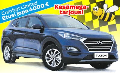 Kesämarkkinoilta uusi Hyundai Tucson Comfort Limited jopa 4000 € kesäedulla! Esim. 1.6 T-GDI automaatti nyt 33.590 €!