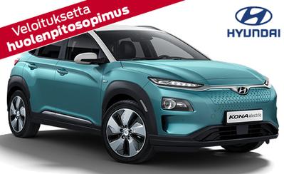 Täyssähkö Hyundai Kona electric 2000 € hankintatuella 34.990 €! Korko 1,49 %, huolenpitosopimus 0 € ja takuu 7 vuotta!