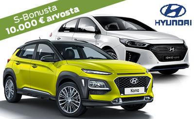 Erään Hyundai Hybrid -malleja 2500 € alennus! Takuu 7 vuotta, kaupan päälle S-Bonukset, korko 0 %, 6 kk lyhennysvapaata!