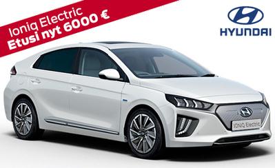 Täyssähköinen Hyundai Ioniq Electric Style 6000 € hankintatuella nyt vain 35.990 €. 7 vuoden takuu, korko 1,49%!
