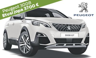 Rajoitettu erä! Kesätarjouksena Peugeot 3008 -kampanjamalleihin jopa 3700 € edut ja korko 1 % ilman kuluja! Esim. Motion Active 30.989 €.