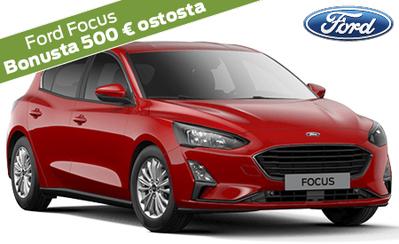 Ford Focus -mallistoon korko 0 %, 72 kk maksuaikaa, vakuutuksen maksuton startti, S-Bonusta 500 € ostosta ja 5 vuoden takuu!