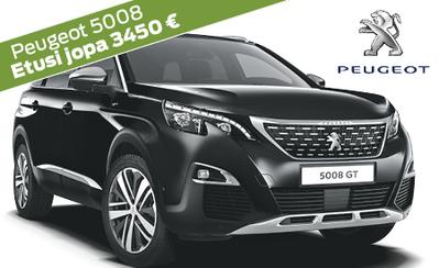 Rajoitettu erä! Peugeot 5008 -kampanjamalleihin jopa 3450 € edut ja korko 1 % ilman kuluja! Esim. Motion Active 32.586 €.