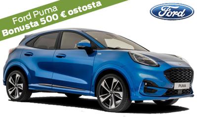 Ford Puma kevythybridi alk. 23.829 €. Mallistoon korko 0 %, 72 kk maksuaikaa, vakuutuksen maksuton startti ja S-Bonusta 500 € ostosta.