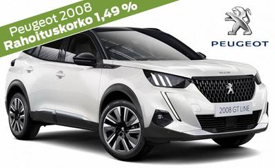 Peugeot 2008 Juhlamalli 26.993 €. Automaatti kaupan päälle! Korko 1,49 % ja 6 kk lyhennysvapaa! 5 vuoden takuu veloituksetta!