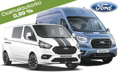 Kaikkiin Ford tavara-autoihin nyt rahoitus 0,99 % korolla, talvirenkaat kaupan päälle, 3 kk lyhennysvapaata ja takuu 5 vuotta!