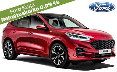 Ford Kuga hybridi kattavilla varusteilla alk. 38.722 €. Korko 0,99 % ja talvirenkaat kaupan päälle! Takuu 5 vuotta!