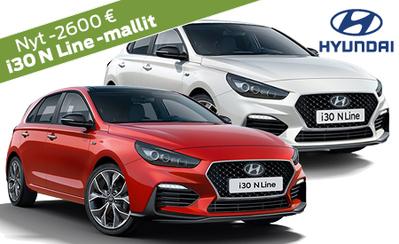 Rajoitettu erä! Sporttiset Hyundai i30 N Line -mallit 2600 € alennuksella! Korko 0,89 %! Huollon lahjakortti ja S-Bonukset kaupan päälle!