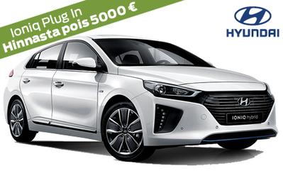 Hyundai Ioniq Plug In Style nyt -5000 €, vain 32.590 €! Korko 0,89 %, lahjakortti kaupan päälle ja 5000 € S-Bonusostokirjaus