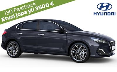 Rajoitettu erä! Hyundai i30 Fastback Comfort Automaatti nyt 24.990 €! Hinta sis. Led- ja Smart Key -varustepaketit. Korko 0,9 %!