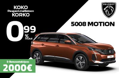 7-paikkainen Peugeot 5008 Motion 1 387 € edulla!