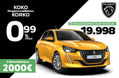 Peugeot 208 Motion 19 998 €. Etusi 2 066 €!