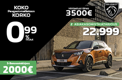 Peugeot 2008 Asiakasomistahintaan 22 999€: Hintaetusi lähes 3 500 €!
