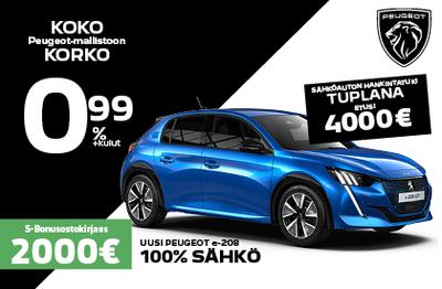 Peugeot e-208 100% SÄHKÖ 4000 euron hankintatuella alk. 29 596 €.