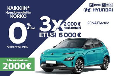 Hyundai Kona 6000 € edulla ja 0 % korolla!