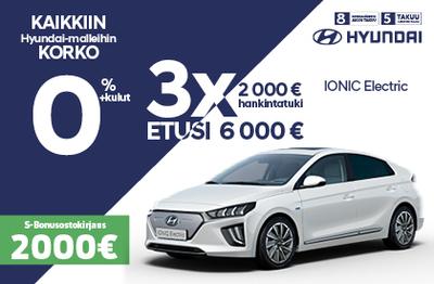 Ioniq Electric 6000 € edulla ja 0 % korolla!