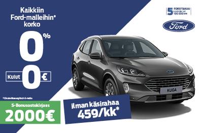 Ford Kuga 0% korko ilman kuluja + 2000 € Bonusostokirjaus.