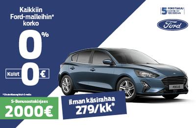 Ford Focus korko 0% ILMAN KULUJA +2000 € Bonusostokirjaus.