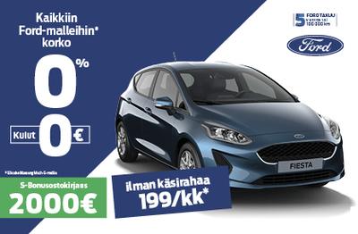 Ford Fiestaan korko 0% ILMAN KULUJA + 2000 € Bonusostokirjaus.
