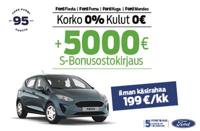Uuteen Ford Fiestaan korko 0 % ja kulut 0 € + 5000 € Bonusostokirjaus!