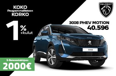 3008 PHEV motion ILMAN KÄSIRAHAA 439 € / kk + 2000 S-Bonusostokirjaus!