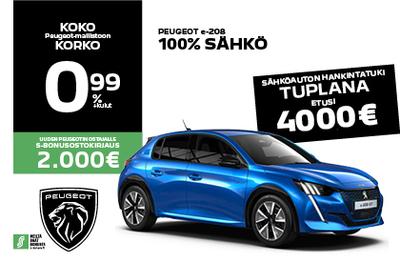 Uusi Peugeot e-208 täyssähkö HANKINTATUELLA -4000 €!