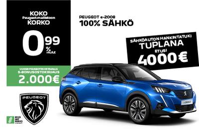 Peugeot e-2008 -4000 € hankintatuella! alk. 31 080 €.