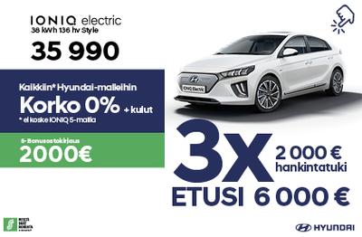 Kona Electric täyssähkö 6000 €:n  ja 0% korolla!