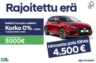 Hyundai i30 hinnasta pois 4500 € + 0% korko +kulut